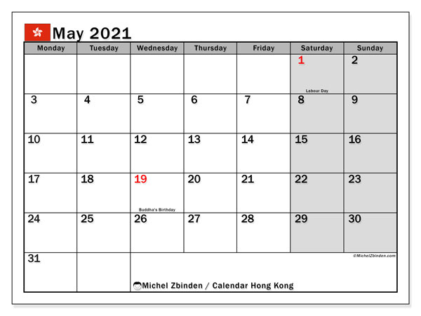 Calendar May 2021 - Hong Kong. Public Holidays. Monthly Calendar and free bullet journal to print.