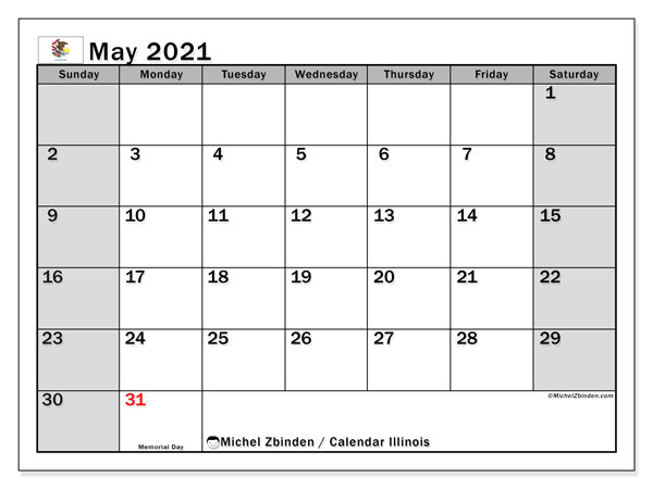 Calendar May 2021 - Illinois. Public Holidays. Monthly Calendar and free printable schedule.