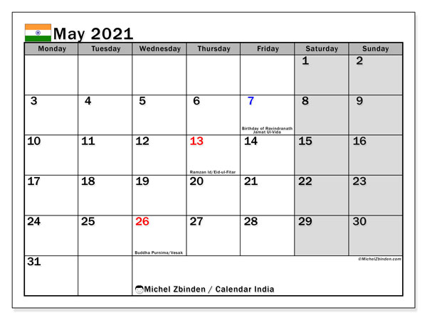 "Printable ""India"" calendar with public holidays. Monthly May 2021 calendar and free bullet journal to print."