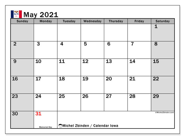 Calendar May 2021 - Iowa. Public Holidays. Monthly Calendar and free bullet journal to print.