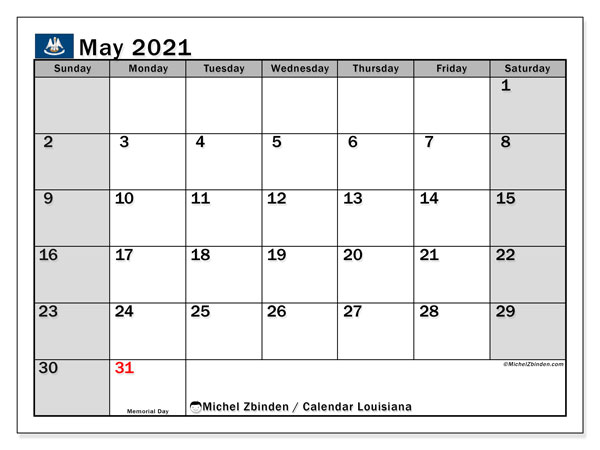 Calendar May 2021 - Louisiana. Public Holidays. Monthly Calendar and free timetable to print.