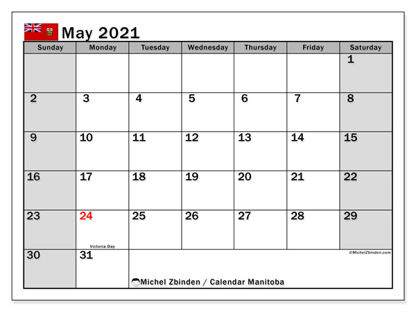 Calendar May 2021 - Manitoba. Public Holidays. Monthly Calendar and free bullet journal to print.