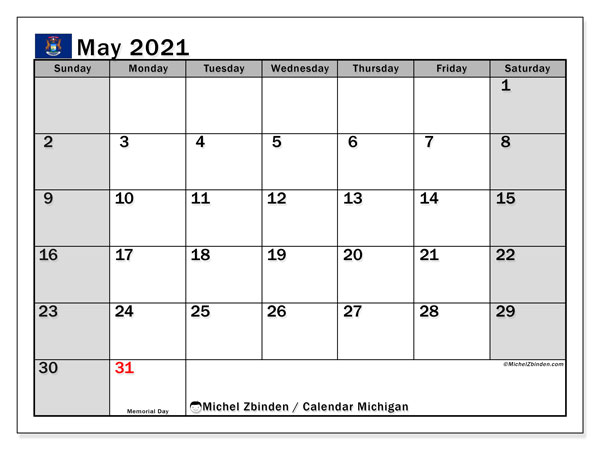 "Printable ""Michigan"" calendar with public holidays. Monthly May 2021 calendar and free bullet journal to print."