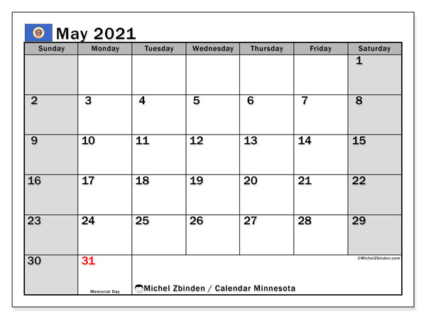 Calendar May 2021 - Minnesota. Public Holidays. Monthly Calendar and free printable bullet journal.