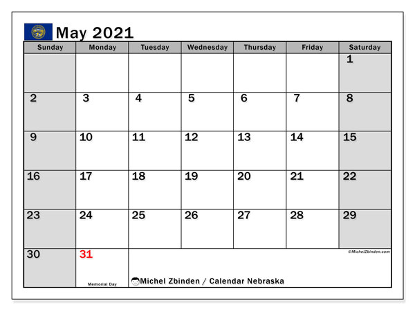 Calendar May 2021 - Nebraska. Public Holidays. Monthly Calendar and free printable bullet journal.