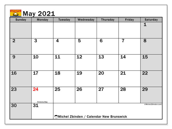 Calendar May 2021 - New Brunswick. Public Holidays. Monthly Calendar and timetable to print free.