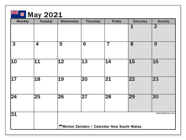 Calendar May 2021 - New south wales. Public Holidays. Monthly Calendar and free agenda to print.