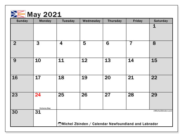 Calendar May 2021 - Newfoundland and Labrador. Public Holidays. Monthly Calendar and timetable to print free.