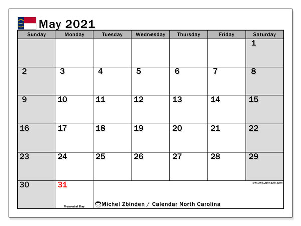 Calendar May 2021 - North Carolina. Public Holidays. Monthly Calendar and bullet journal to print free.