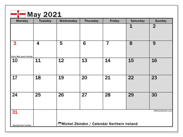 May 2021 Calendar, with the holidays of Northern Ireland. Free printable calendar with public holidays.