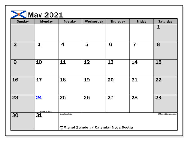 Calendar May 2021 - Nova Scotia. Public Holidays. Monthly Calendar and free printable timetable.