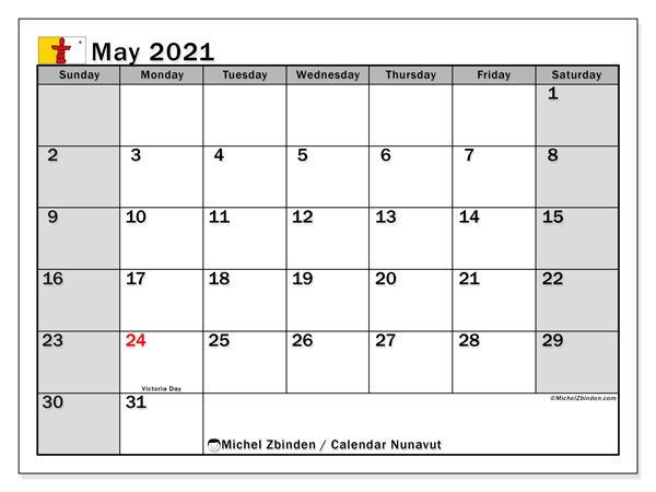 Calendar May 2021 - Nunavut. Public Holidays. Monthly Calendar and free bullet journal to print.