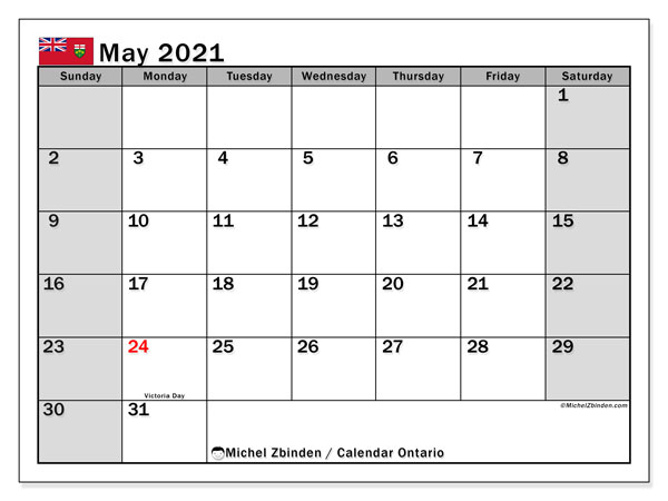 Calendar May 2021 - Ontario. Public Holidays. Monthly Calendar and timetable to print free.