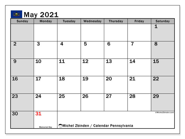 Calendar May 2021 - Pennsylvania. Public Holidays. Monthly Calendar and free printable schedule.
