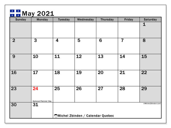 Calendar May 2021 - Quebec. Public Holidays. Monthly Calendar and free schedule to print.