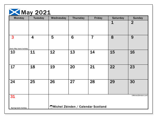 May 2021 Calendar, with the holidays of Scotland. Holidays calendar to print free.