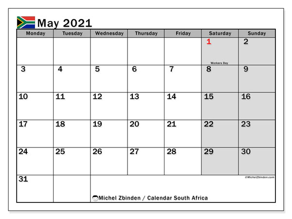 Printable calendars, May 2021, Public Holidays