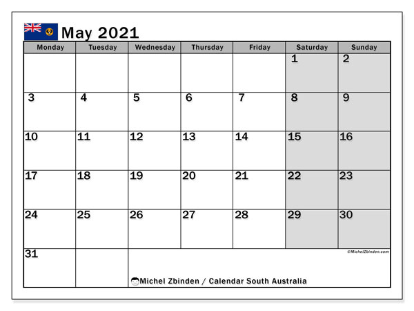 "Printable ""South Australia"" calendar with public holidays. Monthly May 2021 calendar and bullet journal to print free."
