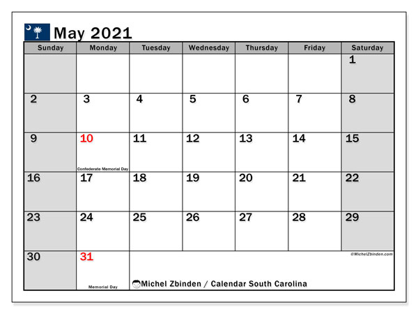 "Printable ""South Carolina"" calendar with public holidays. Monthly May 2021 calendar and free planner to print."