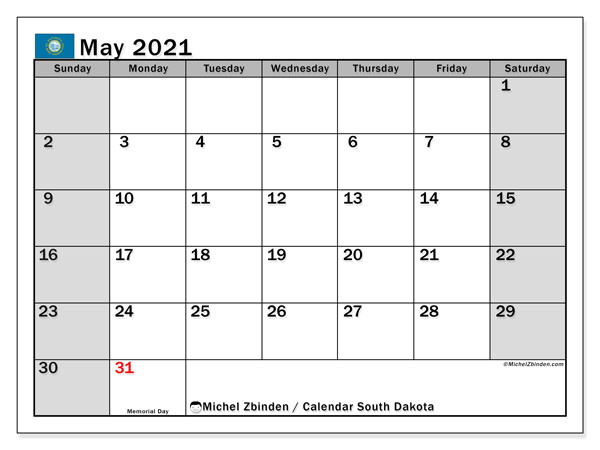 Calendar May 2021 - South Dakota. Public Holidays. Monthly Calendar and free printable schedule.