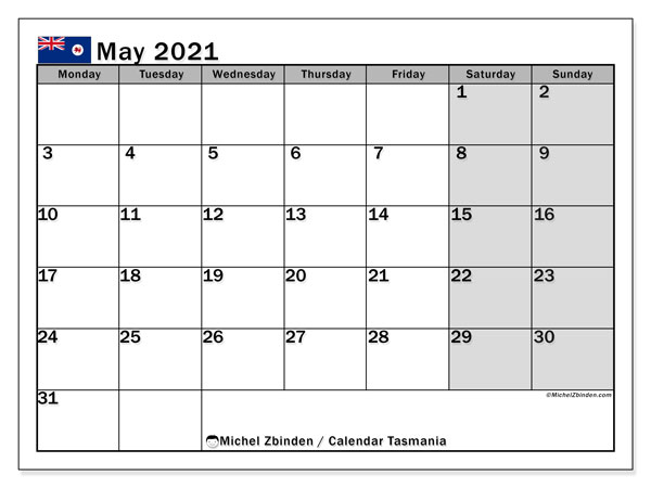 "Printable ""Tasmania"" calendar with public holidays. Monthly May 2021 calendar and agenda to print free."