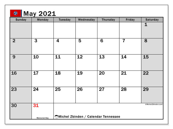 Calendar May 2021 - Tennessee. Public Holidays. Monthly Calendar and schedule to print free.