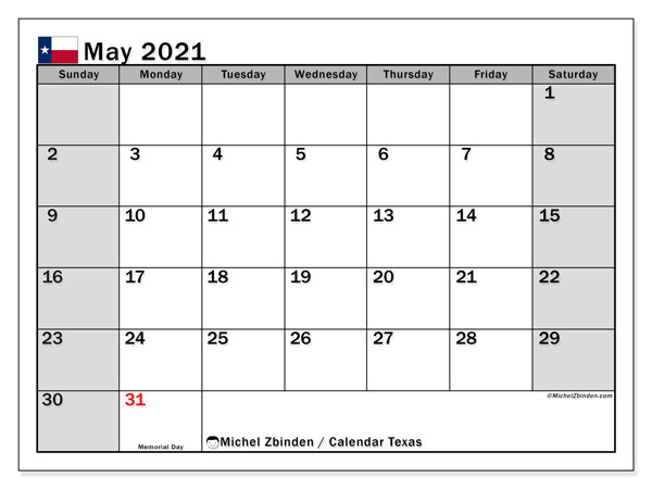 Calendar May 2021 - Texas. Public Holidays. Monthly Calendar and free printable bullet journal.