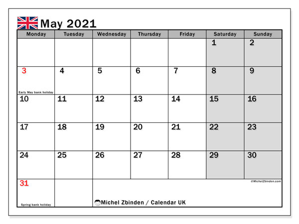 Calendar May 2021 - UK. Public Holidays. Monthly Calendar and schedule to print free.