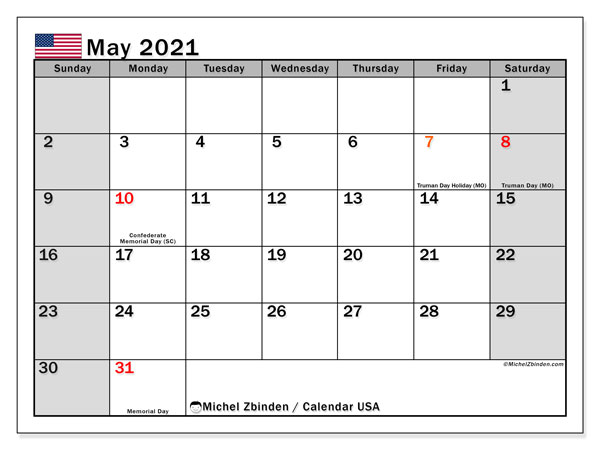 "Printable ""USA"" calendar with public holidays. Monthly May 2021 calendar and free bullet journal to print."