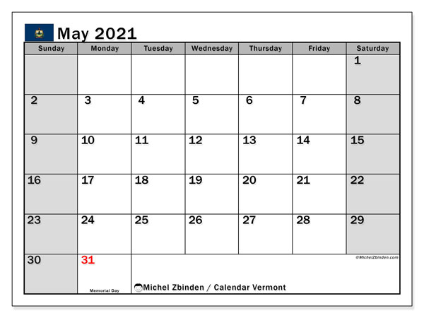 Calendar May 2021 - Vermont. Public Holidays. Monthly Calendar and free schedule to print.
