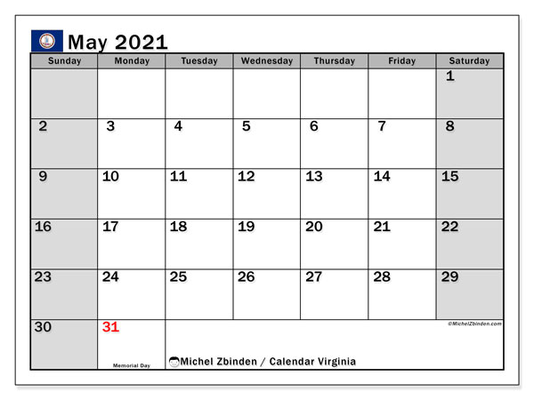 "Calendar ""Virginia"" with public holidays, May 2021, ready to print."