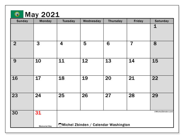 "Printable ""Washington"" calendar with public holidays. Monthly May 2021 calendar and free printable timetable."