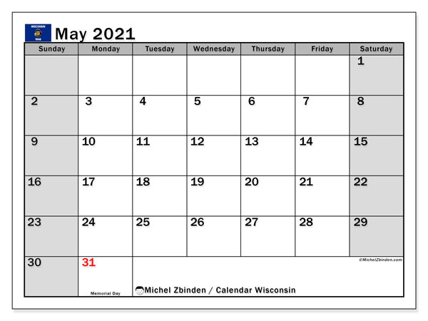 Calendar May 2021 - Wisconsin. Public Holidays. Monthly Calendar and free bullet journal to print.