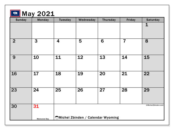 "Printable ""Wyoming"" calendar with public holidays. Monthly May 2021 calendar and free printable timetable."