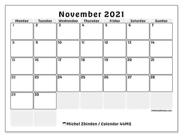 Printable calendars, November 2021, Monday - Sunday
