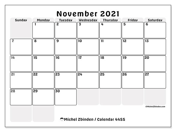 Calendar November 2021 - 44SS. The right boxes. Monthly Calendar and planner to print free.