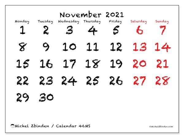 November 2021 Calendar, 46MS. Free printable monthly calendar.