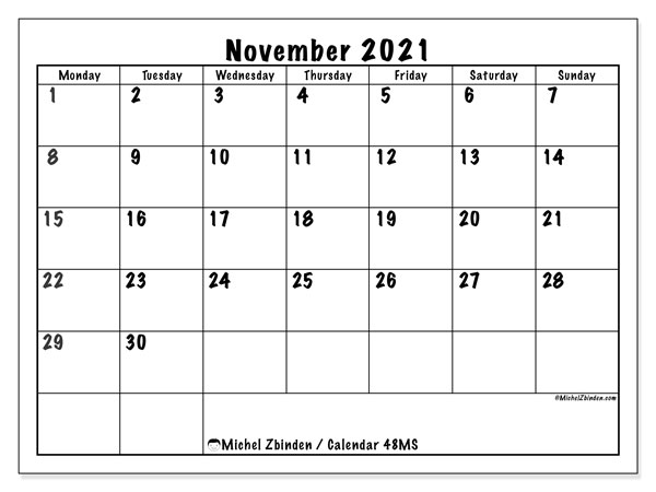 Calendar November 2021 - 48MS - Michel Zbinden EN