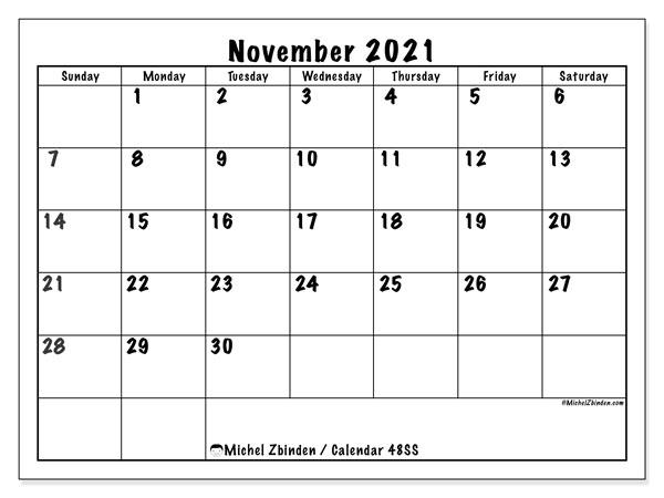 November 2021 Calendar, 48SS. Free printable monthly planner.