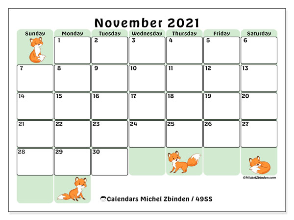 November 2021 Calendar, 49SS. Free printable bullet journal.