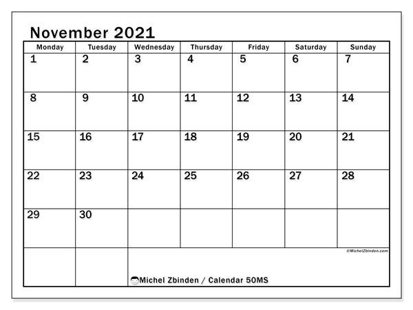 November 2021 Calendar, 50MS. Free calendar to print.
