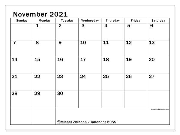 "Printable November 2021 calendar. Monthly calendar ""50SS"" and free schedule to print"