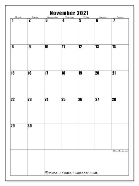 November 2021 Calendar, 52MS. Free calendar to print.