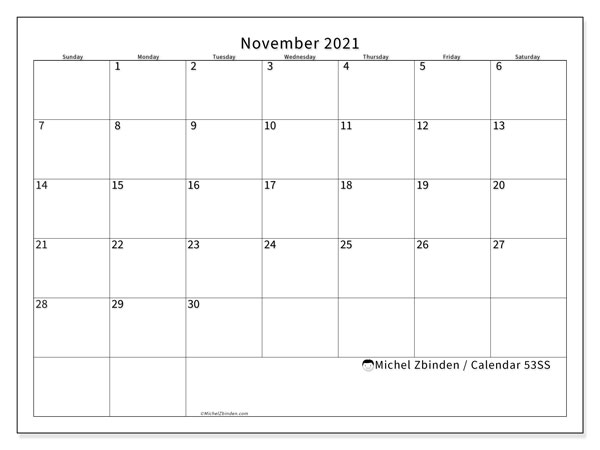 Printable calendars, November 2021, Sunday - Saturday