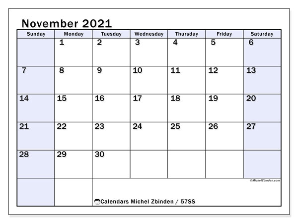 November 2021 Calendar, 57SS. Free calendar to print.