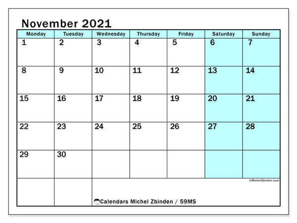 November 2021 Calendar, 59MS. Monthly planner to print free.