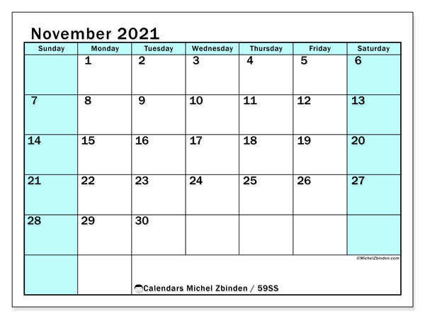 Calendar November 2021 - 59SS. South Turquoise. Monthly Calendar and free printable agenda.