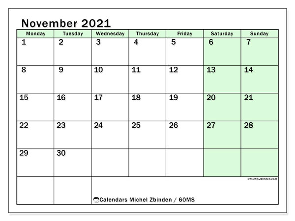 November 2021 Calendar, 60MS. Free planner to print.