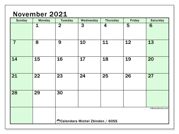 November 2021 Calendar, 60SS. Monthly planner to print free.