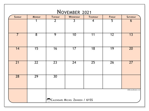 Calendar November 2021 - 61SS. Back to earth. Monthly Calendar and free timetable to print.